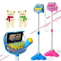 Children upright Microphone Musical Toy Karaoke Machine Sing Toy with MP3 Microphones Disco Flashing Lights Kid Funny Gift