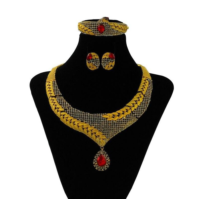 Liffly Dubai Gold Jewelry Sets Botanical Flower Design Charm Bracelet Wedding Accessories Fashion Women