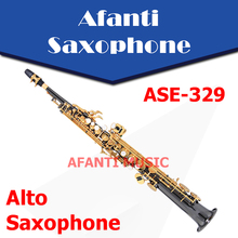 Afanti Music Bb tone / Brass body / Black Nickel Gold Soprano Saxophone (ASE-329)