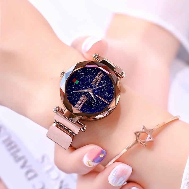 Fashion Starry Sky Magent Women Watches Rose Gold Unique Star Creative Casual Lady Wristwatch Elegant Fashion Quartz Gift Watch đồng hồ gucci dây nam châm
