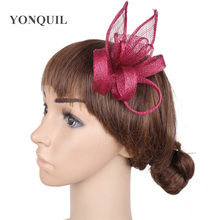 f25223d5d2510 NEW 17colors or wine red feather sinamay fascinator hat for races wedding  kentucky derby ascot races