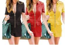 купить Jumpsuits Women Summer Playsuits Shorts Fashion Short Sleeve Sexy V-neck Casual Rompers Zipper Front Bodysuit дешево
