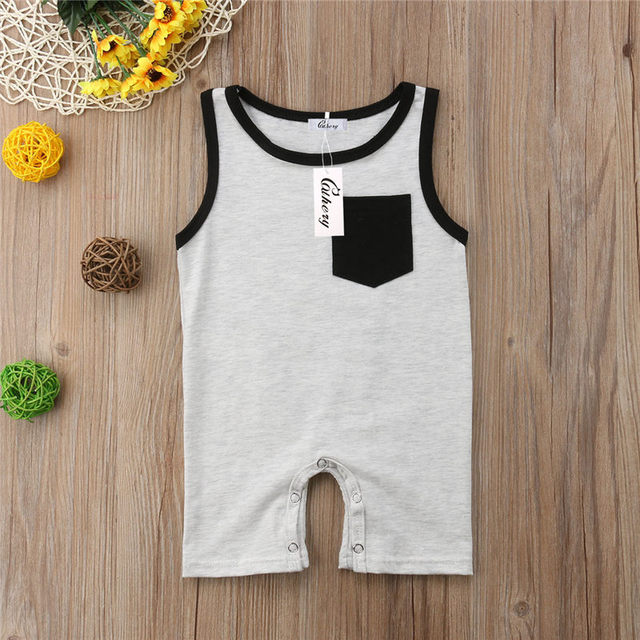 Emmababy Newborn Baby Girl Boy Pocket Sleeveless Romper Jumpsuit Outfits Clothes Spring Summer Clothing Gifts 2