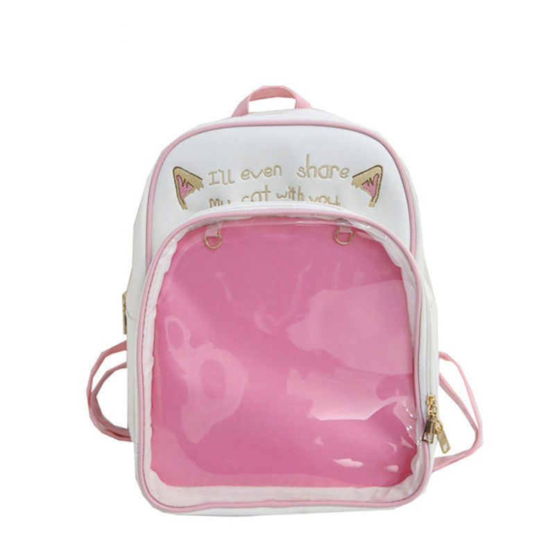 Clear Transparent Women Backpack Cute Bow Ita Bags For School Mini Pink Black Schoolbags For Teenage Girls Fashion Bookbag 2019Clear Transparent Women Backpack Cute Bow Ita Bags For School Mini Pink Black Schoolbags For Teenage Girls Fashion Bookbag 2019