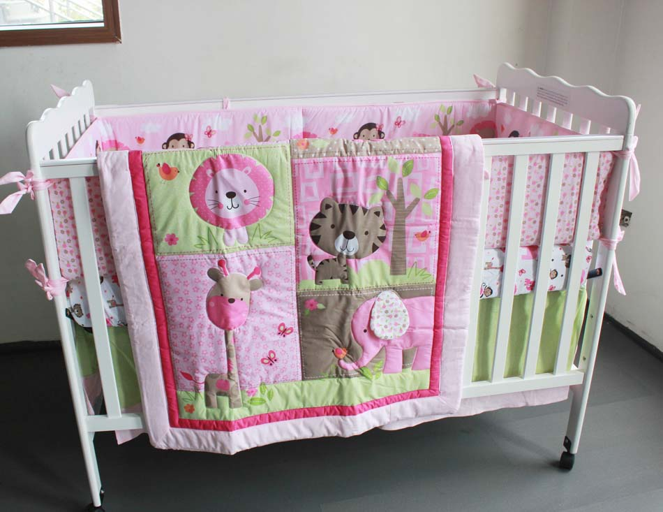 Promotion! 7PCS embroidery baby bedding set baby boy bedding crib sets ,include(bumper+duvet+bed cover+bed skirt)