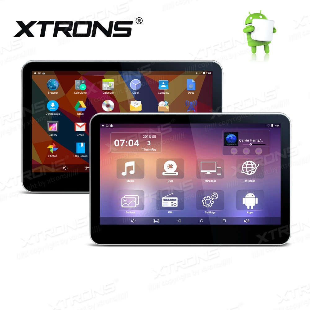 XTRONS 2pcs 10.1'' Inch Android 6.0 Car Headrest Monitor DVD Player 1080P Video Touch Screen 4G WIFI USB SD FM Speaker Games APP image