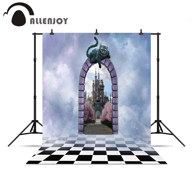 Allenjoy Photo background Wonderland Cat Castle Mysterious Clouds professional noel Vinyl background pictures