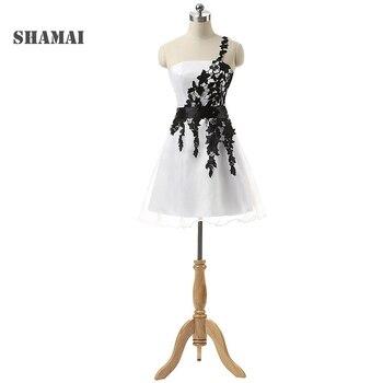 9374c4f1f86 SHAMAI дешевые черные аппликации сексуальные одно плечо на шнуровке платья  для выпускного платья Свадебный вечерний коктейльный