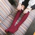 Японские женские Все Матч Твердые Чулки Зима Осень Симпатичные Черный Белый Красное вино Хлопок Колена Носок