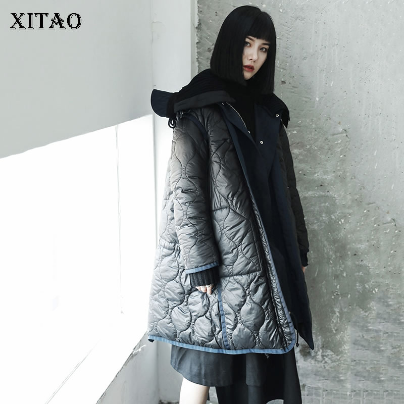 [XITAO] Korea Fashion New Women 2018 Winter Full Sleeve Long Stand Collar Coat Femlae Patchwork Casual Thick   Parka   LYH2379
