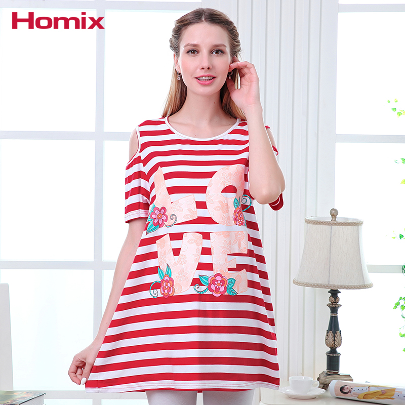 Homix Summer Fashion Off Shoulder Stripe Maternity Dress Pregnancy Clothing Pegnant Women Clothes Long Tops Tees T-shirts