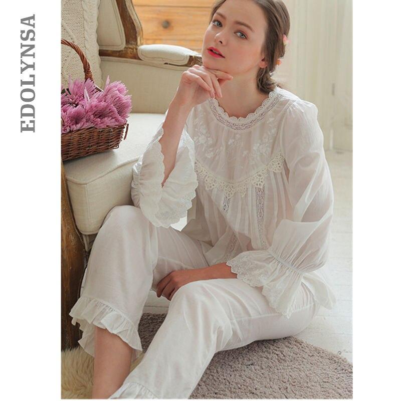 70fcd79d90 Sleep Lounge Women Pajama Set Plus Size Summer Autumn Long White Cotton  Lingerie Two Pieces Sleepwear