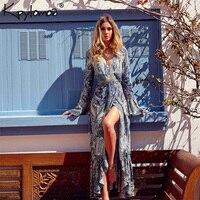 654c3ee79a9471 Bohemian Dresses Women 2017 Autumn Vintage Floral Print Long Sleeve Deep V  Neck Maxi Summer Beach