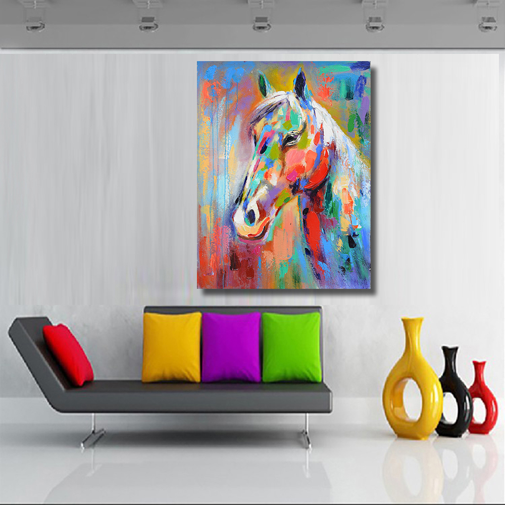 Smiling Horse Graffiti Picture Canvas decoration oil painting picture  1