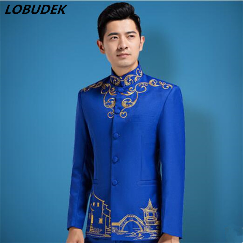 (Jacket+Pants) Men's Suit Male Royal Blue Fashion Slim Costumes Singer Team Prom Performance Dress Choir Star Host Stage Wear