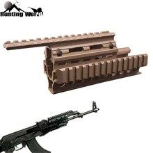ยุทธวิธีDrop Quad RailขอบเขตMount RIS Quad HandguardสำหรับAK 47 AK74 AKSการล่าสัตว์Airsoft Rifleอุปกรณ์เสริมสีดำ/Tan