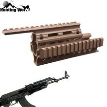 Tactical Drop in Quad Rail Scope Mount RIS Quad Handguard per AK 47 AK74 AK caccia tiro Airsoft fucile accessorio nero/marrone chiaro