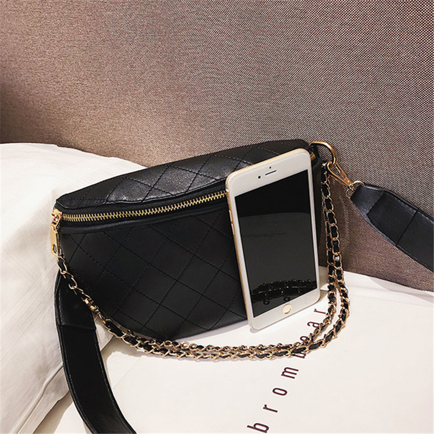 TOYOOSKY Multi-use Women Leather Belt Bag Quilted Plaid Phone Pouch Fanny Pack Luxury Brand Female Waist Chest Crossbody Bag