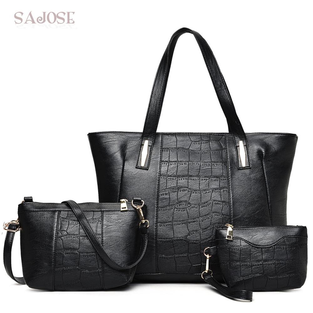 Woman Fashion Tote Handbag Crocodile Pattern 3 Sets Famous Brand Leather Crossbody Bags For Women Messenger Bag Black Hand Bag