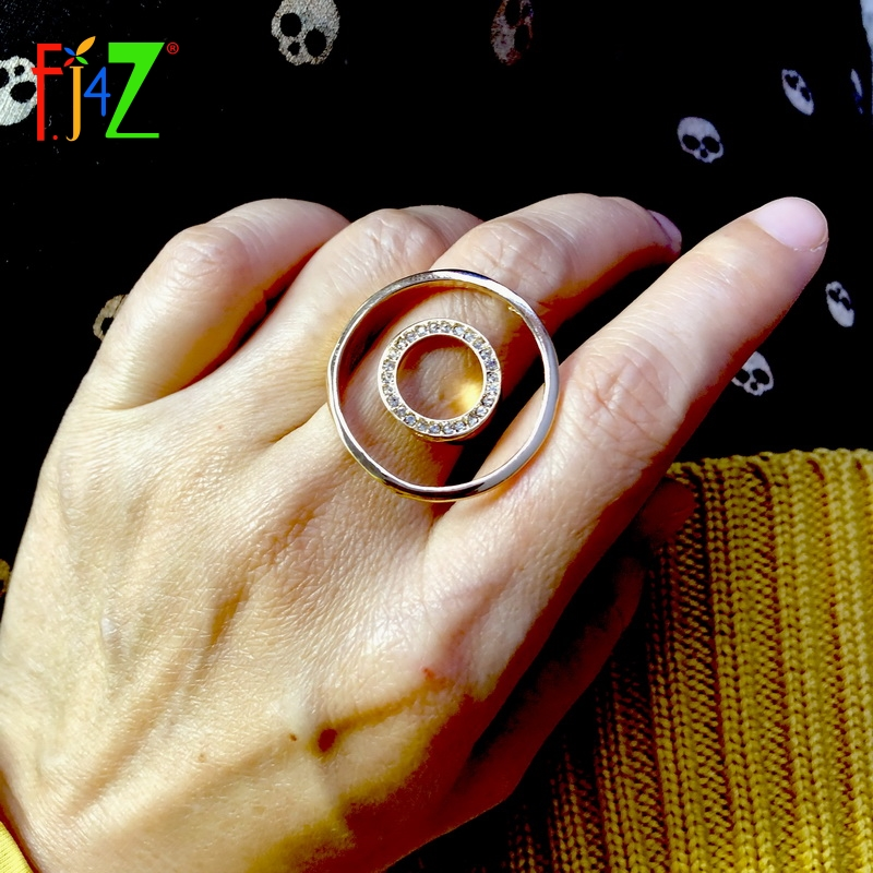 F.J4Z Finger-Ring Jewelry Circle Rhinestone Rock Round Designer Women Brand For Ladies