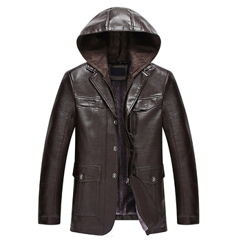 2019 New Thicken Warm Men Winter Leather Jacket High Quality Hooded Leather Coat