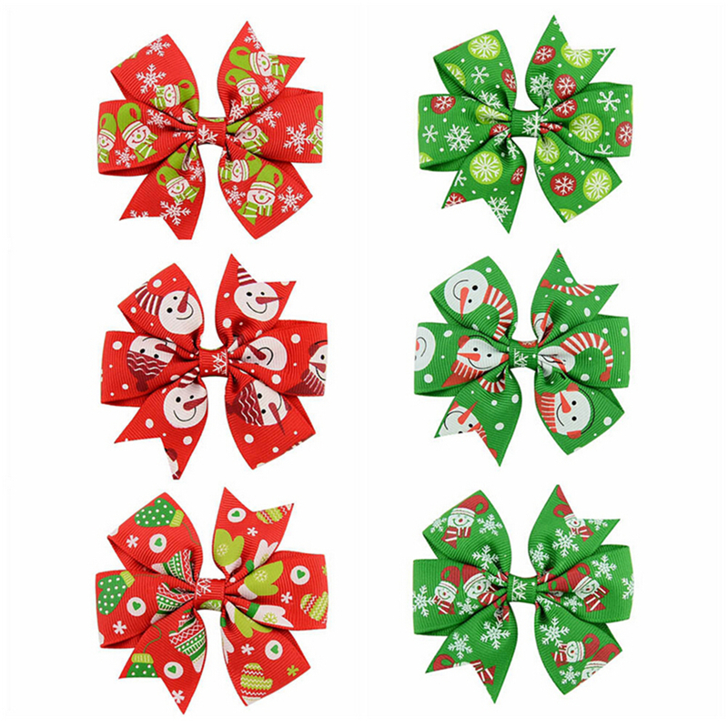 6 Pcs Christmas Boutique Pinwheel Hair Bows Hair Clips Girls Toddlers Barrette Grosgrain Ribbon Bows WITH Clip Hair Accessories
