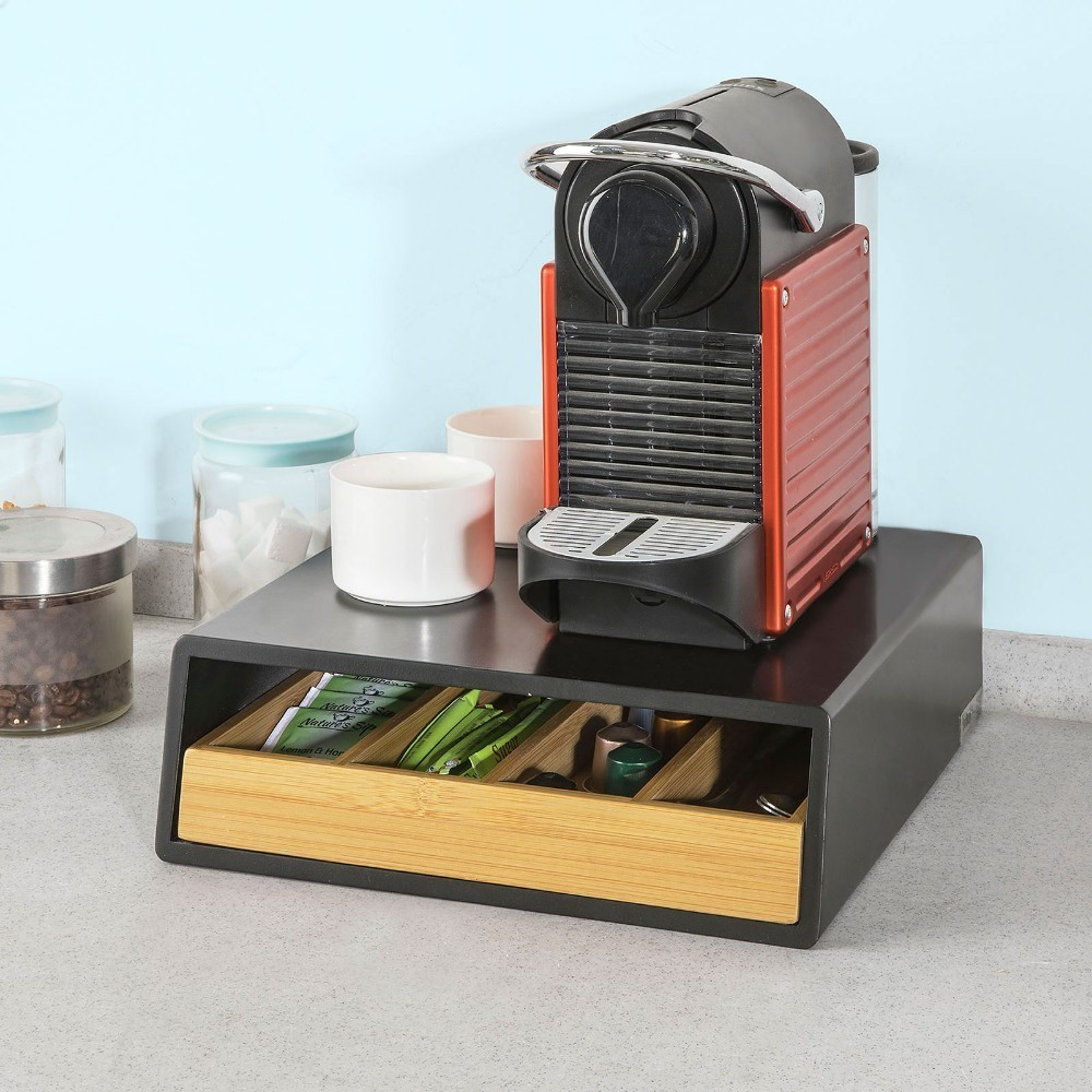 SoBuy FRG280-SCH, Coffee Pod Capsule Teabags Drawer Box Holder Cabinet, Coffee Machine Stand
