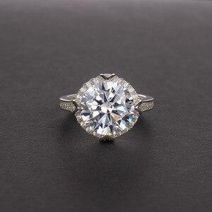 Image 3 - OneRain 100% 925 סטרלינג כסף נוצר Moissanite עגול לחתוך חן חתונת אירוסין זהב לבן טבעת תכשיטי מתנה סיטונאי