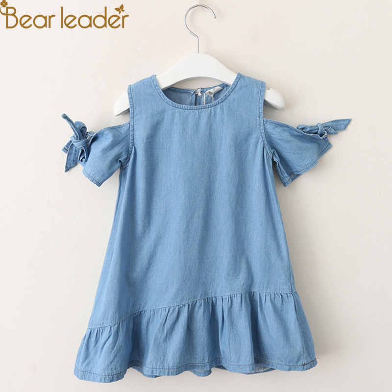 Bear Leader Girls Dresses 2018 Summer Girls' Denim Dress Bare-Shoulder Knots Short-Sleeve Cotton Summer Dresses For 3-7 Years summer dresses for girls party dress 100% cotton summer cool and refreshing the harness green flowered dress 1 5years old