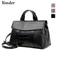 Yonder fashion black crocodile handbag women's genuine leather shoulder bag female large tote hand bags ladies messenger bag new