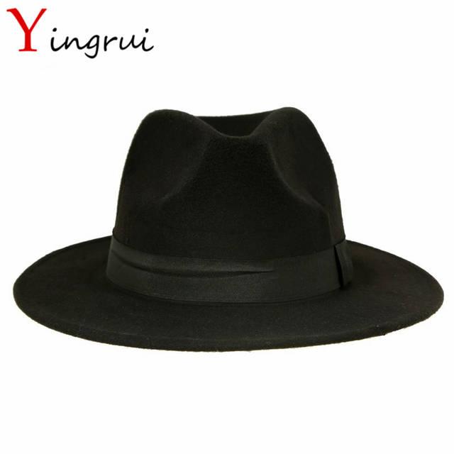 a8dd9d30eab3d Spring Wide Brim Fedora Men Women Vintage Jazz Hats Fashion Stars Wool felt  hat Unisex Black