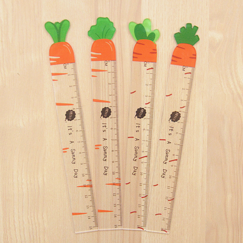 Carrot Shape Acrylic Transparent Straight Ruler Kids Stationery 15cm Scale Plastic Cartoon Drawing Measuring Tools Student Prize
