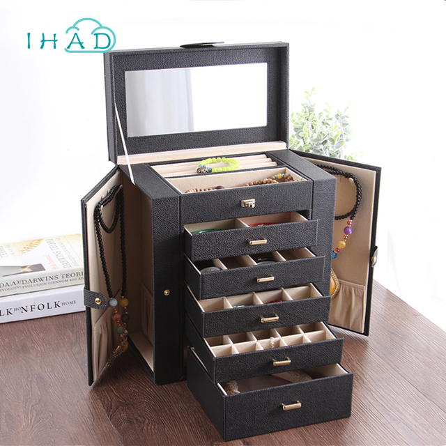 Large wood luxury jewelry storage box with 5 drawer ring holder
