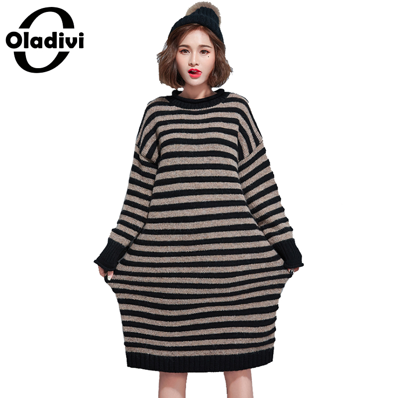 Oladivi 2017 Sweater Dress Women Casual Striped Dresses Winter Knitting Loose Dresses Ladies Long Knitted Tunics Tops Plus Size