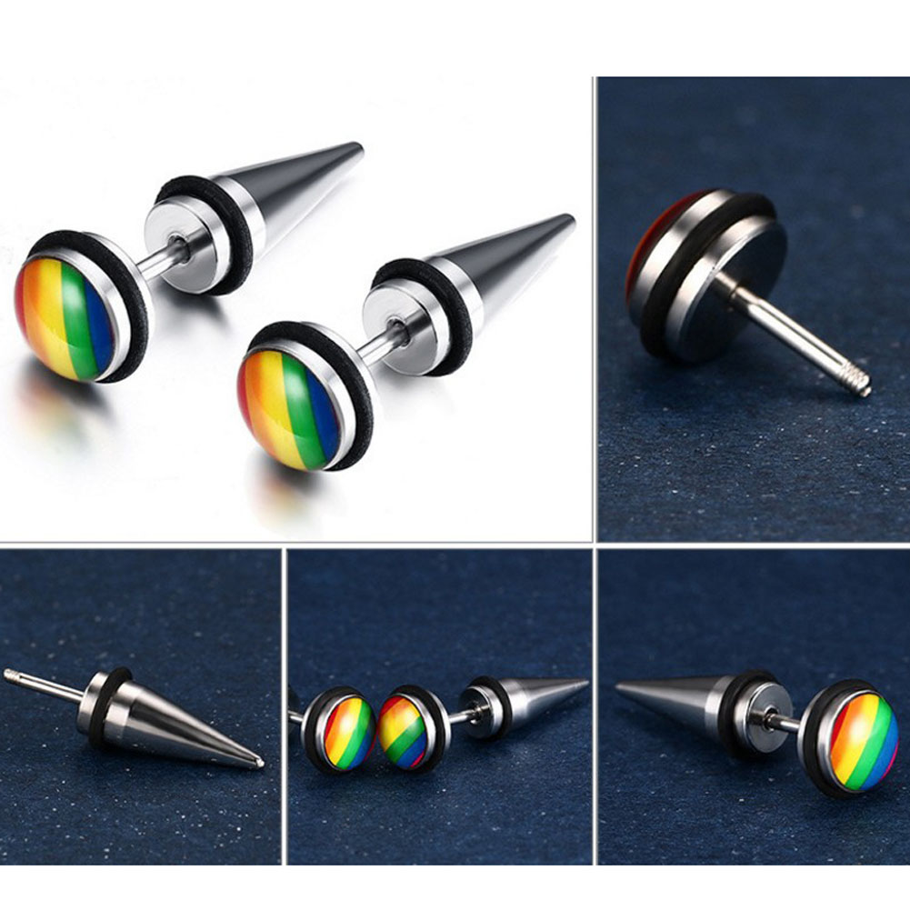 Round Design Stainless Steel Rivet Earrings 1 Pair Fashion Rainbow Color Stud Earrings For Women And Men