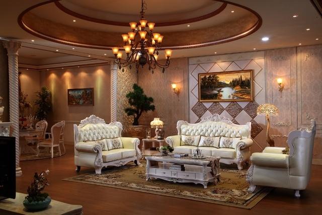 De luxe italien chêne en bois massif canapé en cuir ensemble avec ...