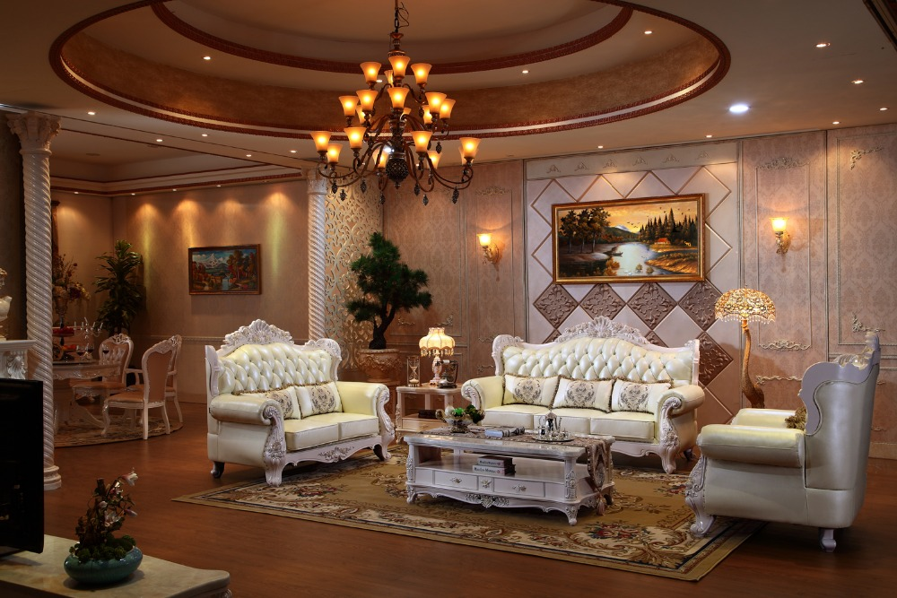 luxury italian oak solid wood leather sofa set with armchair living room  furniture from China-PRF935