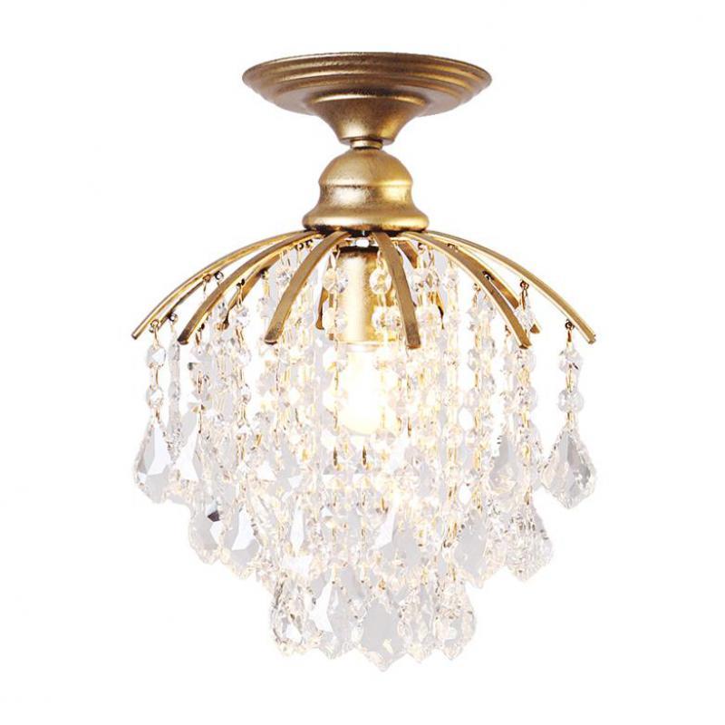 Or 1 pièces porche lumière café salle à manger Mini pendentif lampe en cristal Led méditerranée mer E27 fer cristal cuisine éclairage - 5