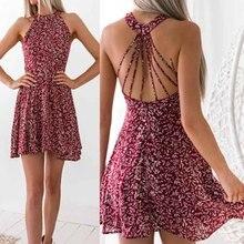 2019 Summer New Women Sexy Neck-Hanging Characteristic Hidden Printed Dresses Vintage Elegant Dress