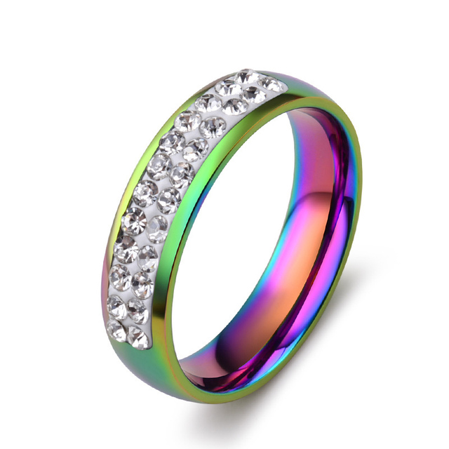 Pride Ring Stainless Steel An Jewelry Rainbow Shiny Rhinestones Glaring 5mm Rings For