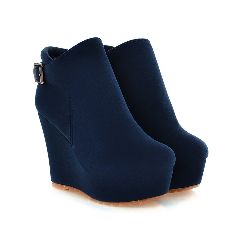Round Toe Suede Wedge Platform Boots Shoes Blue Black Ankle Boots Boots Women Plus Size 35 - 43 Faux Suede Slim Boots