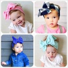 цена на ND3 2017 New lovely big bowknot Headband Baby girls Bow hair band Toddler kids summer dot Cotton Head Wrap Hair Accessories