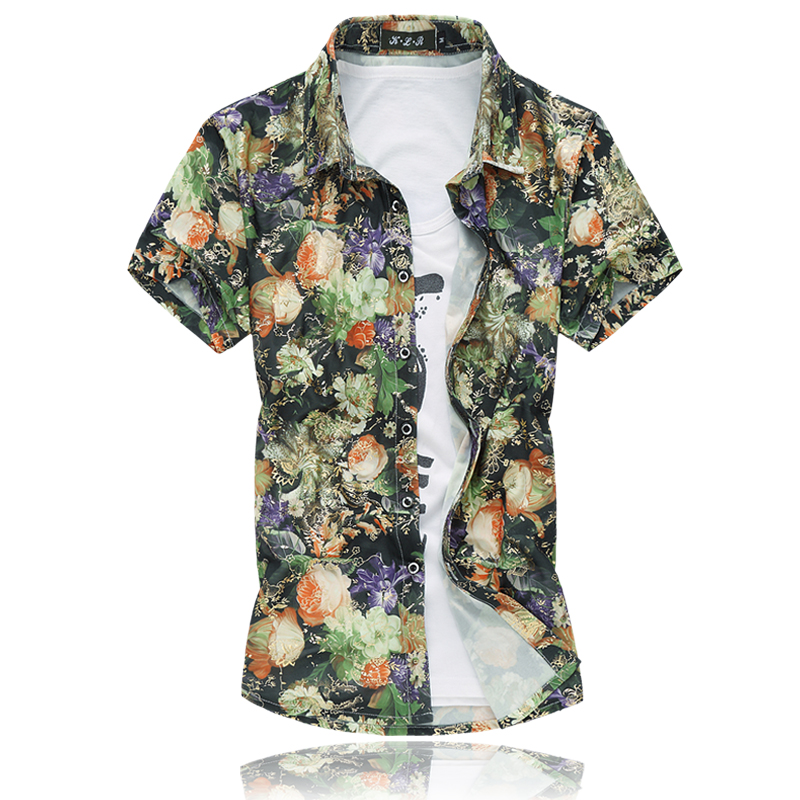 4368fffc4cdbb 14 Colors 2018 Fashion Mens Short Sleeve Silk Hawaiian Shirt Plus Size 3XL  4XL 5XL 6XL 7XL Summer Casual Floral Shirts Men 50OFF-in Casual Shirts from  Men s ...