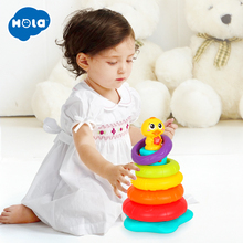 Free Shipping Kids Baby Toy Plastic Stacking Rainbow Duck With Music and Light Ring Tower Educational Toys Stack Up