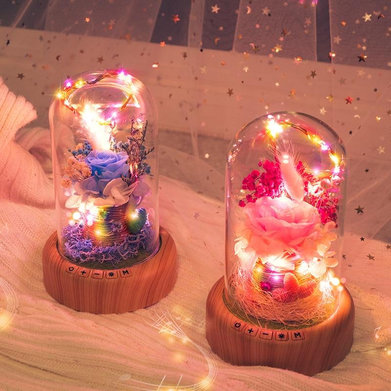 LED Bluetooth Speaker Night Lamp USB Copper Wire Light String Fairy Simulation Rose Bottle Holiday Bedroom Decor Romantic Gift
