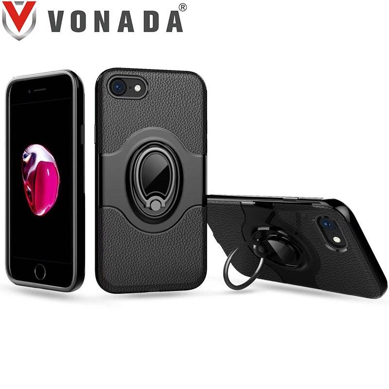 for Apple iPhone 8 Finger Ring 360 Degree Rotation Magnet Car Holder TPU PC Hybrid Shockproof Phone Case Cover