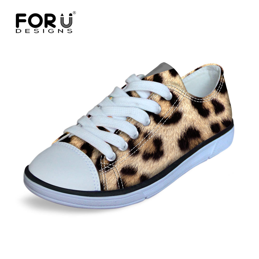 FORUDESIGNS Leopard Low Top Lace Up Children Canvas ShoesLightweight Kids Sneakers Waling Sport Flat Shoes for Boys and Girls