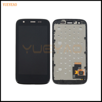 YUEYAO Black For Motorola MOTO G XT1032 XT1033 LCD Display Touch Screen Digitizer With Bezel Frame