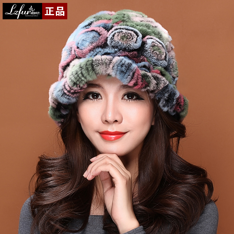 ФОТО Fur rex rabbit hair hat female winter thick thermal hat brim fur hat free shipping