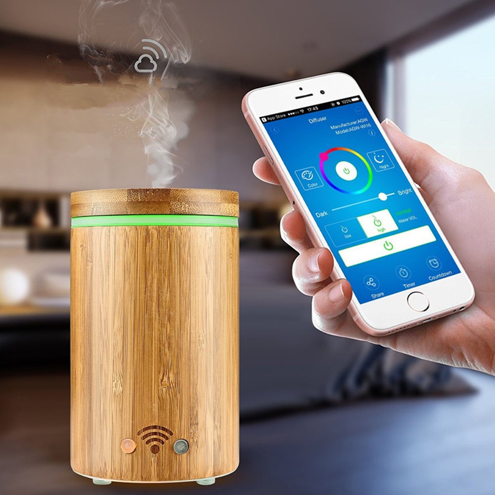 Free Shipping Amazon WIFI APP Aroma Diffuser Smart Electric SPA Humidifier Support Alexa Google Home With RGB Light